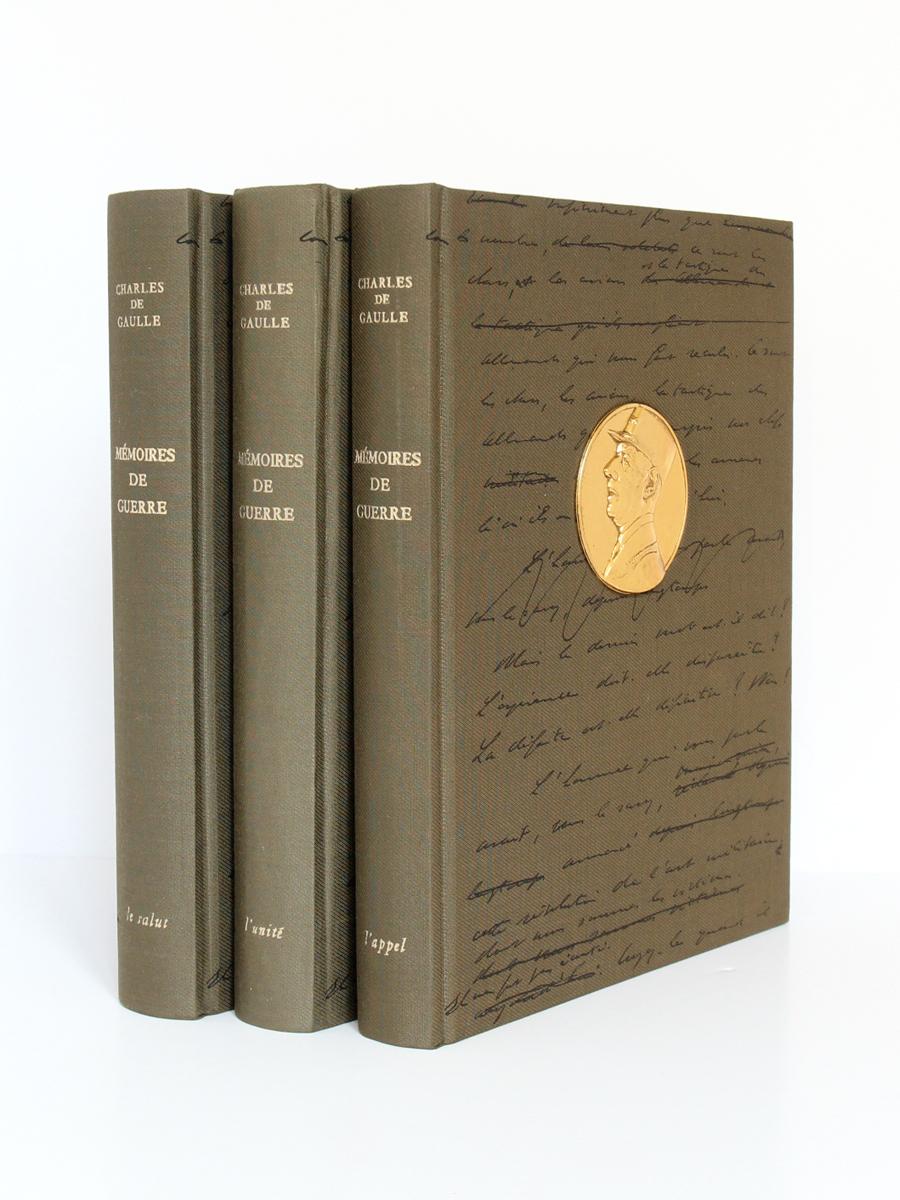 Mémoires de guerre, Charles de Gaulle. Librairie Plon, 1963. 3 tomes. Reliures.