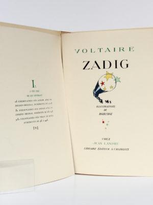 Zadig, VOLTAIRE. Illustrations de Roger MAUGE. Chez Jean Landru, 1947. Justificatif de tirage et page titre.