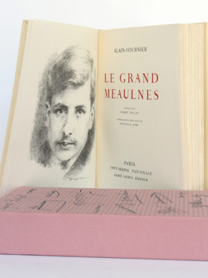 Le grand Meaulnes, ALAIN-FOURNIER. Lithographie de Berthold MAHN. Imprimerie Nationale, André Sauret Éditeur, 1958. Frontispice, page titre et étui.