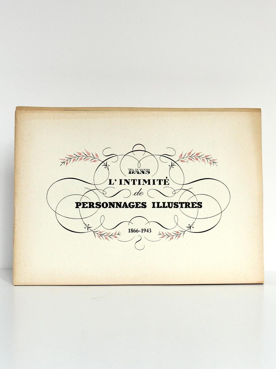 Dans l'intimité de personnages illustres 1866-1943, Maurice DEVRIÈS. Couverture.