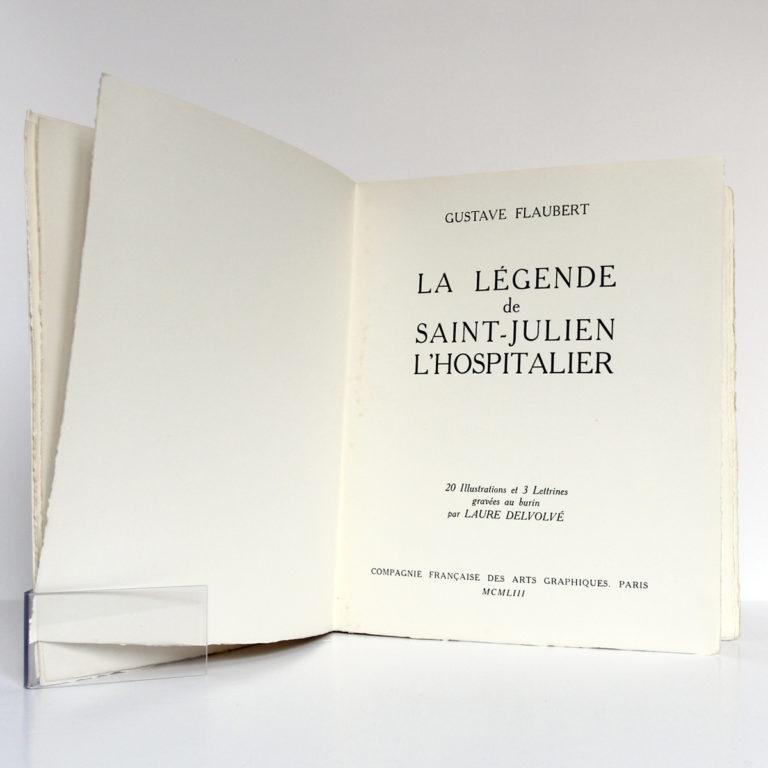 La Légende de Saint-Julien l'Hospitalier, Gustave FLAUBERT. Illustrations LaureDELVOLVÉ. Compagnie française des Arts graphiques, 1953. Page-titre.