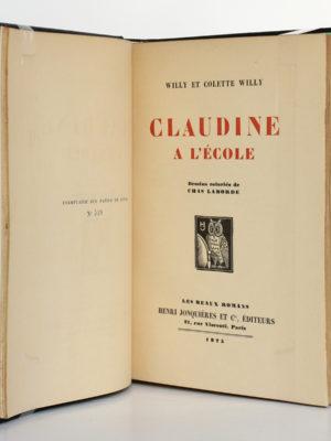 Claudine à l'école, Colette. Illustrations de Chas Laborde. Henri Jonquières et Cie, 1925. Page titre.