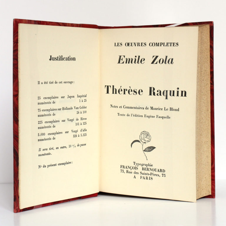 Thérèse Raquin - Madeleine Férat, Émile Zola. François Bernouard, 1928. Page titre 1.