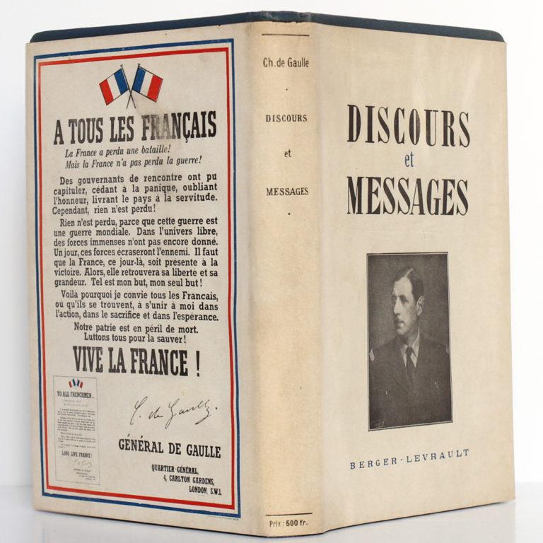 Discours et messages 1940-1946, Charles DE GAULLE. Éditions Berger-Levrault, 1946. Jaquette : dos et plats.