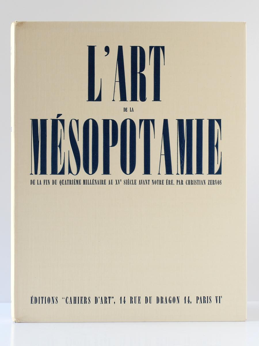 """L'Art en Mésopotamie, Christian Zervos. Éditions """"Cahiers d'Art"""", 1935. Couverture."""