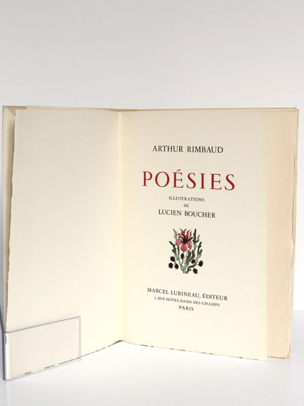 Poésies, Arthur Rimbaud. Marcel Lubineau Éditeur, 1953. Illustrations de Lucien Boucher. Page titre.