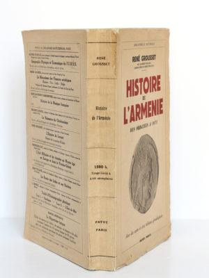 Histoire de l'Arménie, René Grousset. Payot, 1947. Couverture et dos.