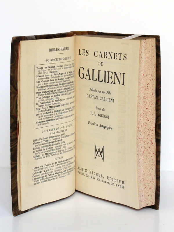 Les carnets de Gallieni publiés par son fils. Albin Michel, 1932. Page titre.