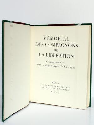 Mémorial des compagnons de la Libération. 1961. Relié. Page titre.
