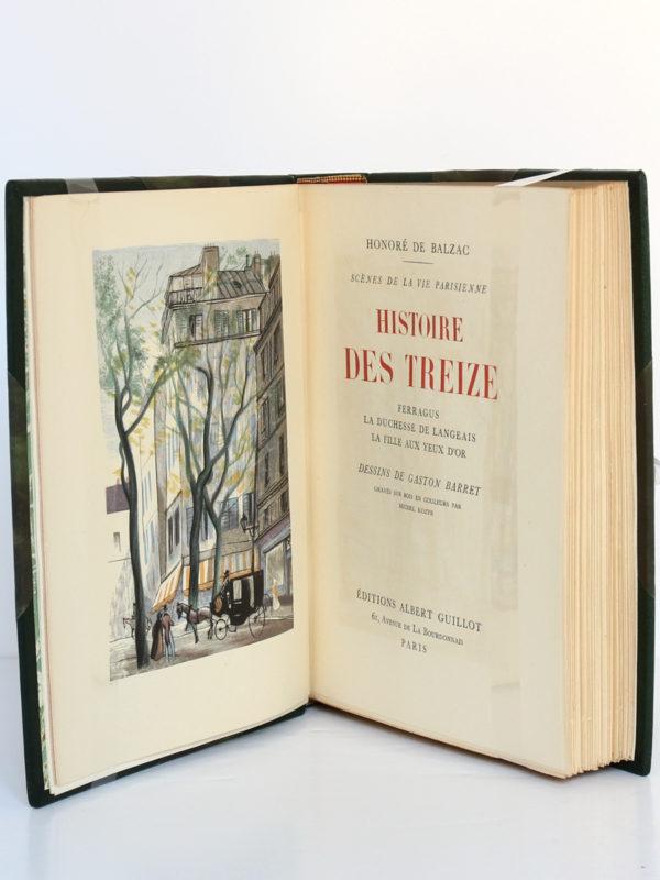 Histoire des Treize, Honoré de BALZAC. Dessins de GastonBARRET. Éditions Albert Guillot, 1949. Frontispice et page titre.