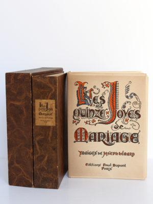 Les Quinze Joyes de Mariage. Images de JosephHÉMARD. Éditions Paul Dupont, 1947. Couverture, chemise et étui.
