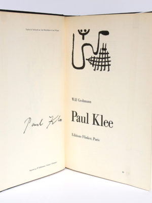 Paul Klee, Will GROHMANN. Éditions Flinker, 1954. Page titre.