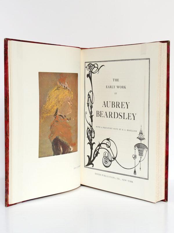 The Early Work of Aubrey Beardsley, Dover Publication Inc. sans date [1967 ou après]. Page-titre et frontispice du volume 1.