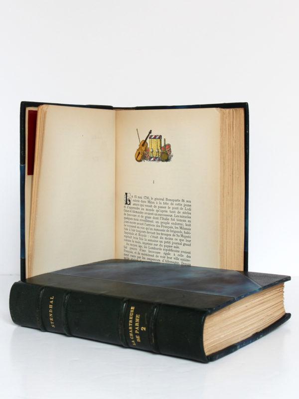 La Chartreuse de Parme, Stendhal. Aquarelles de Paul Domenc. La Belle Édition, sans date [1947]. Pages intérieures 1 du volume 1 et volume 2.