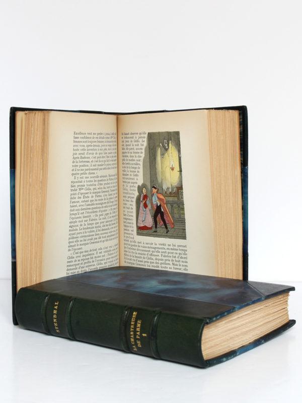 La Chartreuse de Parme, Stendhal. Aquarelles de Paul Domenc. La Belle Édition, sans date [1947]. Pages intérieures du volume 2 et volume 1.