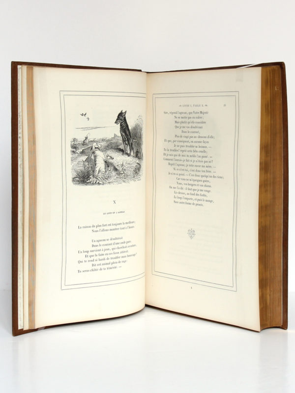 Fables de La Fontaine, illustrations par Grandville. Garnier-Frères, 1864. Pages intérieures 1.