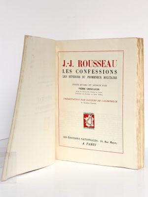 Les Confessions, Les Rêveries du promeneur solitaire, Jean-Jacques ROUSSEAU. Les Éditions Nationales, 1947. Page titre.
