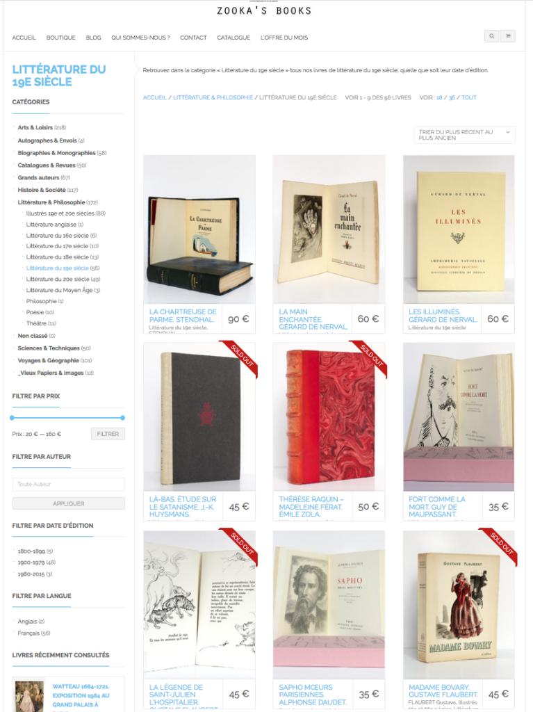 Littérature 19e siècle. Boutique du site de la Librairie Zooka's Books