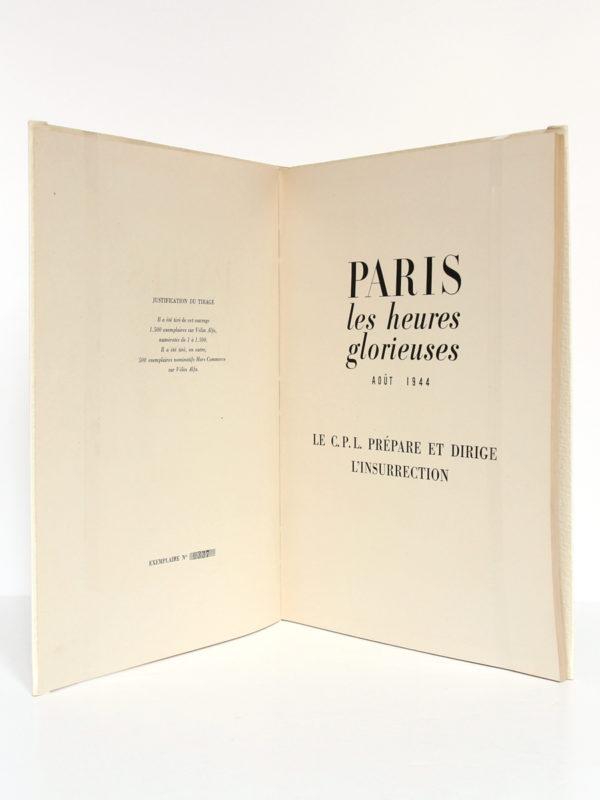 Paris Les heures glorieuses Août 1944 Le CPL prépare et dirige l'insurrection. Draeger, 1945. Page titre.