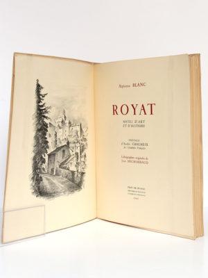 Royat Notes d'art et d'histoire, Alphonse BLANC. Lithographies originales de Jean ARCHIMBAUD. Jean de Bussac Imprimeur-Éditeur, 1947. Frontispice et page-titre.