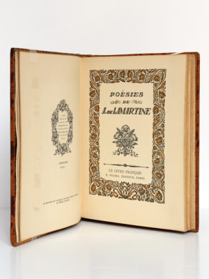 Poésies de A. de Lamartine. Le livre français H. Piazza éditeur, 1925. Page-titre.