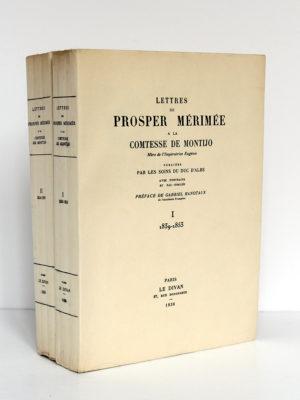 Lettres de Prosper Mérimée à la Comtesse de Montijo. Le Divan, 1936. 2 volumes. Couverture du volume 1 et dos.