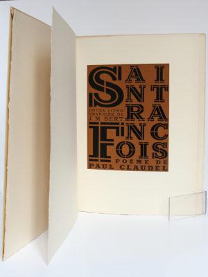 Saint François, Poème de PaulCLAUDEL. Lithographies de J. M. SERT. Librairie Gallimard, 1946. Page-titre.