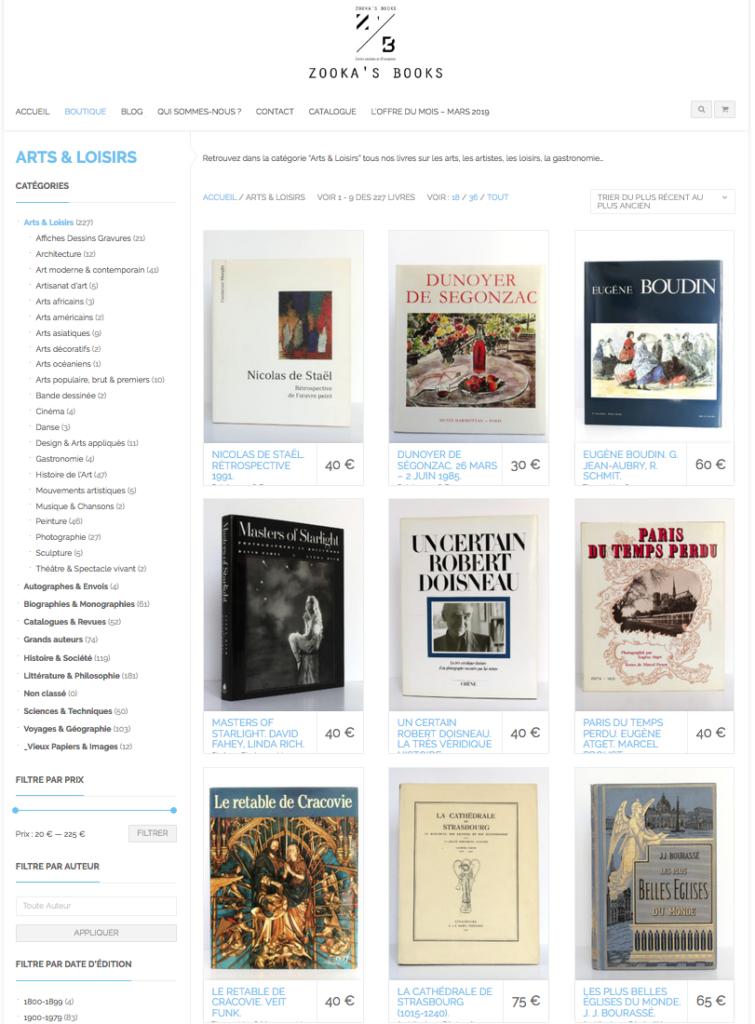 Catégorie Arts & Loisirs. Librairie Zooka's Books.