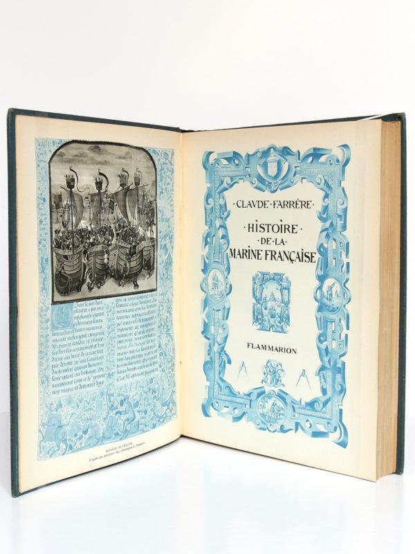 Histoire de la marine française, Claude Farrère. Flammarion, 1934. Frontispice et page-titre.