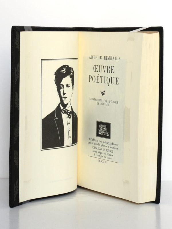 Œuvre poétique, Arthur Rimbaud. Chez Jean de Bonnot, 1993. Frontispice et page-titre.