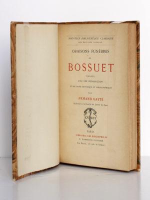Oraisons funèbres, Bossuet. Librairie des bibliophiles Jouaust / E. Flammarion, sans date. Page titre.