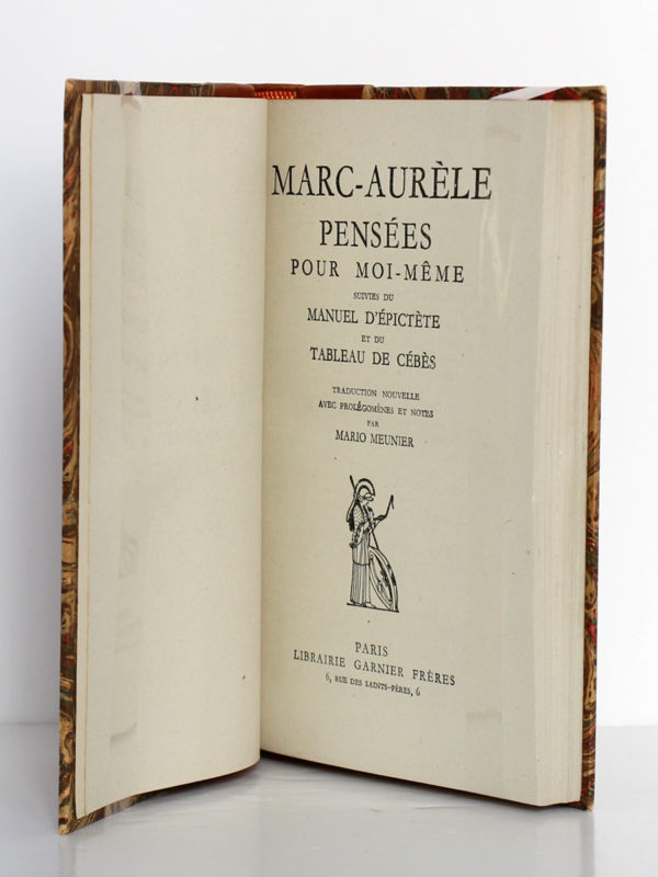 Pensées pour moi-même, Marc-Aurèle. Librairie Garnier Frères, sans date [vers 1951]. Page titre.