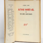 Ainsi soit-il ou Les jeux sont faits, André Gide. nrf-Gallimard, 1952. EO. Page titre.
