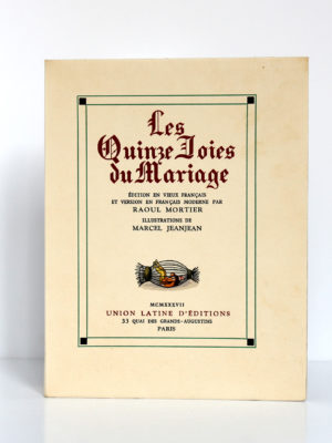 Les Quinze Joies du Mariage. Illustrations de Marcel Jeanjean. Union latine d'éditions, 1937. Couverture.
