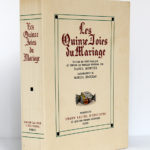 Les Quinze Joies du Mariage. Illustrations de Marcel Jeanjean. Union latine d'éditions, 1937. Dos et premier plat.