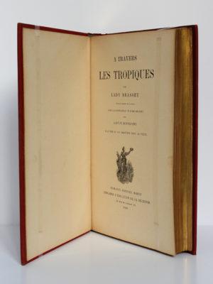 À travers les tropiques, Lady Brassey. Charavay-Mantoux-Martin, sans date [1893]. Page-titre.