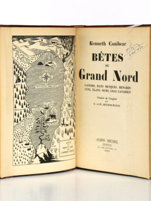 Bêtes du Grand Nord, Kenneth Conibear. Albin Michel, 1939. Frontispice et page titre.
