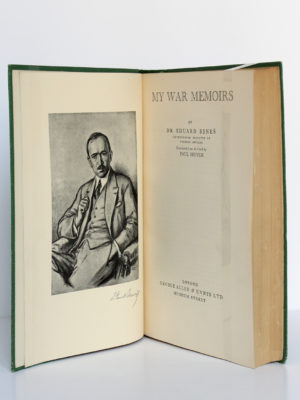 My War Memoirs, Eduard Benes. George Allen & Unwin Ltd, 1928. Frontispice et page titre.