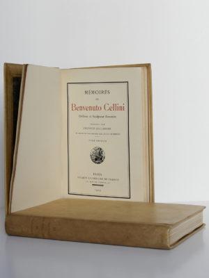 Mémoires de Benvenuto Cellini Orfèvre et sculpteur florentin. Société Littéraire de France, 1919. Page titre du tome 1 et tome 2.