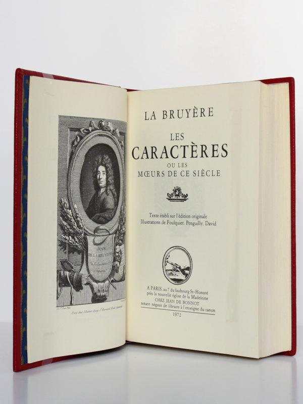 Les Caractères, La Bruyère. Chez Jean de Bonnot, 1972. Page titre et frontispice.