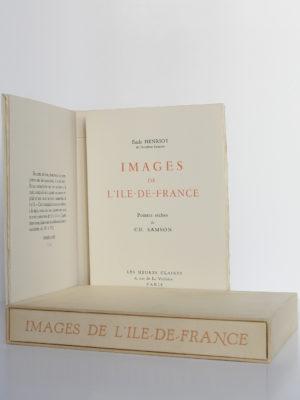 Images de l'Ile-de-France, Émile Henriot, Samson. Les Heures Claires, sans date [1958]. Page titre, chemise et étui.