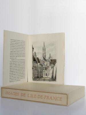 Images de l'Ile-de-France, Émile Henriot, Samson. Les Heures Claires, sans date [1958]. Pages intérieures, chemise et étui.